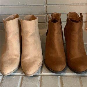 2 pairs of JustFab booties 7.5